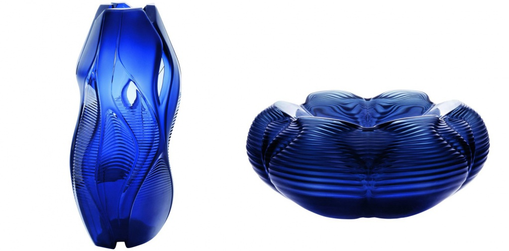 Lalique Zaha Hadid Manifesto Vase Midnight Blue Crystal Numbered Edition, Lalique Zaha Hadid Fontana Bowl Midnight Blue Crystal Numbered Edition