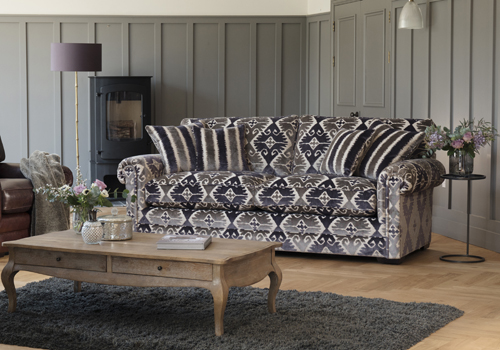 Canterbury Large Two Seater Sofa in Camberley Medallion, Chair in Smokey Leather 2 (1).jpg